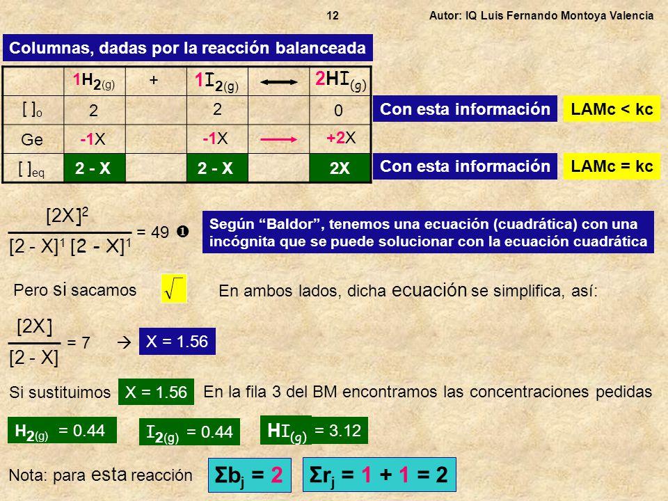 Σbj = 2 Σrj = 1 + 1 = 2 1I2(g) 2HI(g) [2X]2 [2 - X]1 [2 - X]1 [2X]